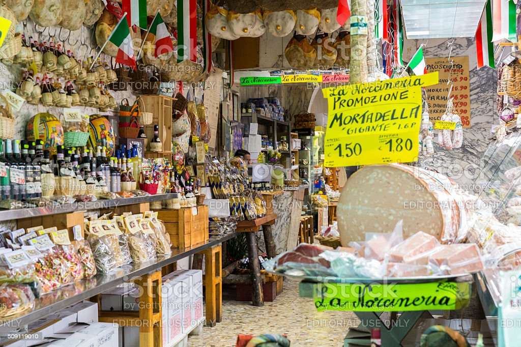 Small Market in Florence Italy Featuring Cheese stock photo