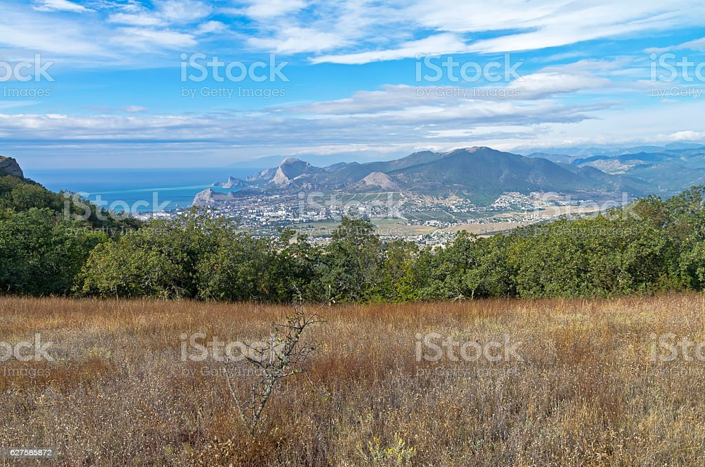 Small meadow on the mountainside. Crimea, September. stock photo