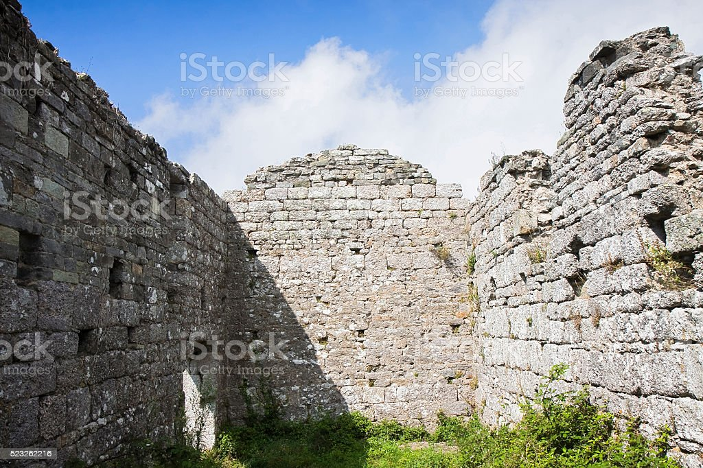 Small medieval church roofless stock photo