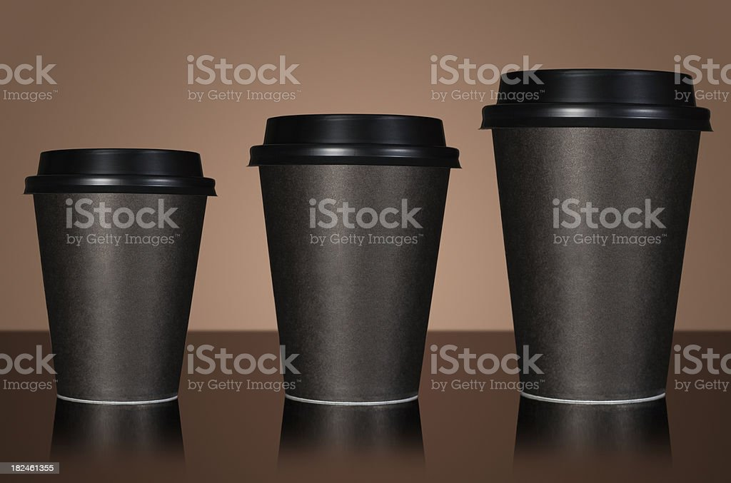 Small medium and large takeaway coffee royalty-free stock photo
