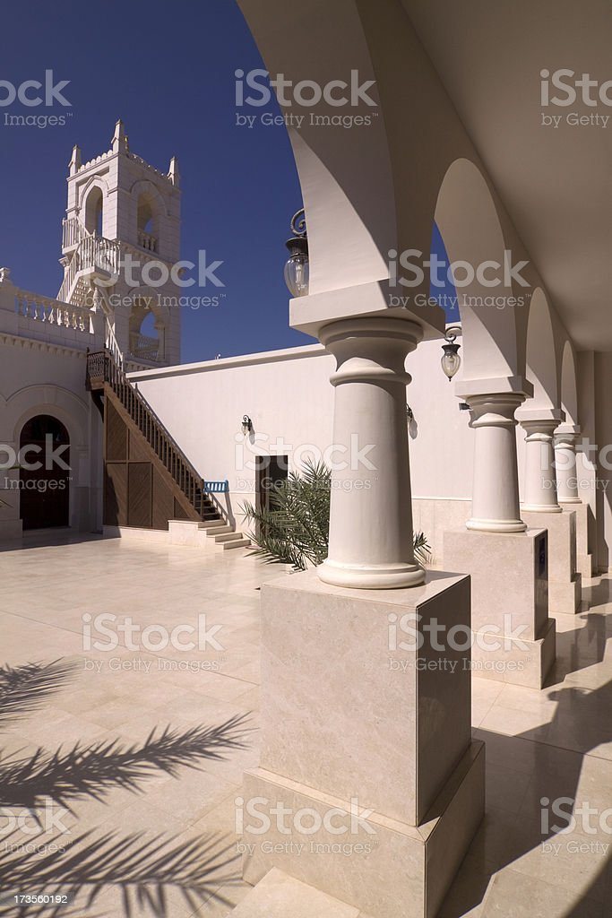 Small mosque next to Al Alam Palace royalty-free stock photo