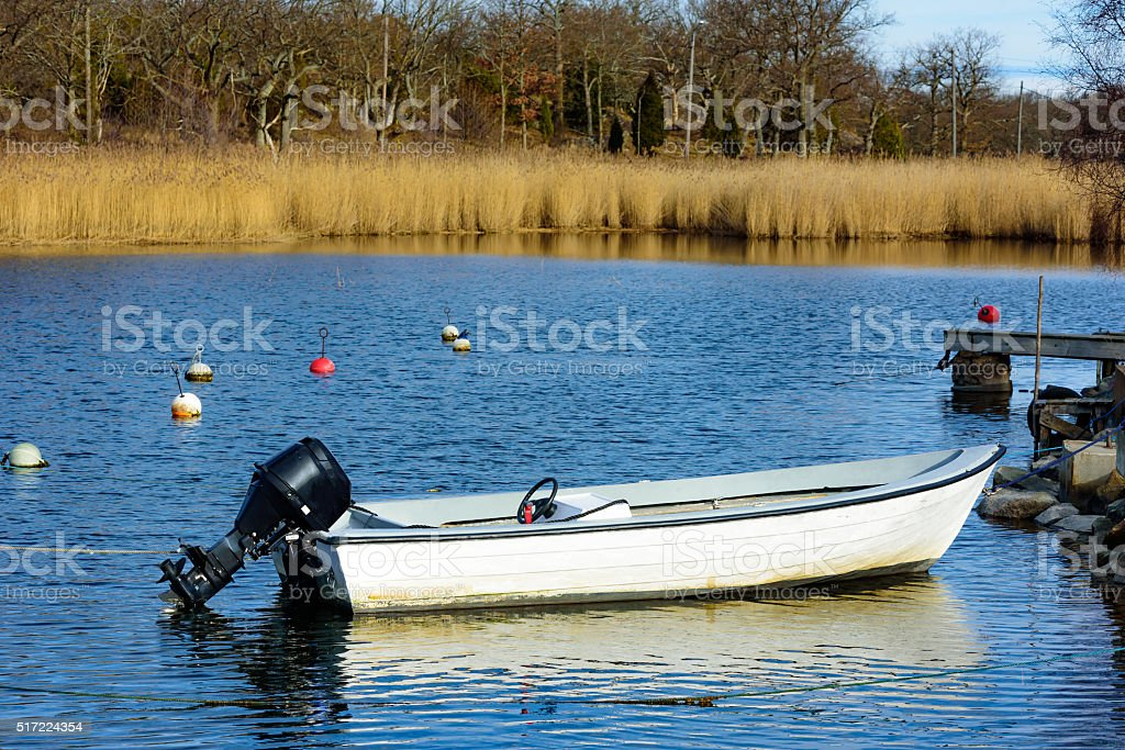 Small motorboat stock photo