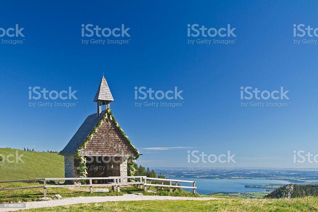 Small mountain chapel at the Kampenwand stock photo