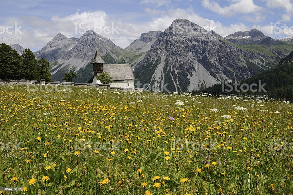 small mountain chapel in the Alps royalty-free stock photo