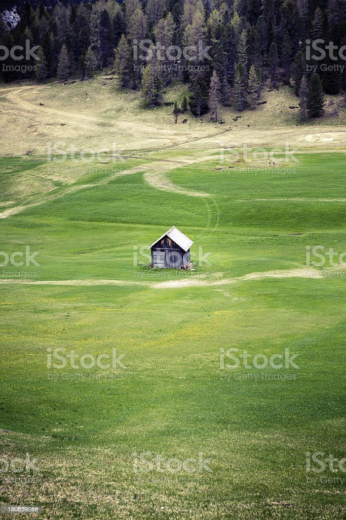 Small mountain hut stock photo