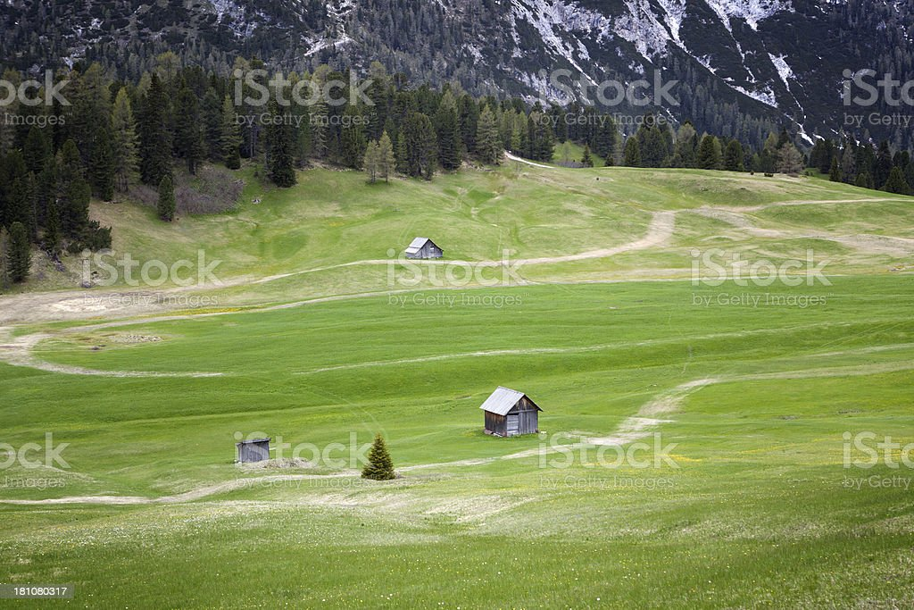 Small mountain huts stock photo