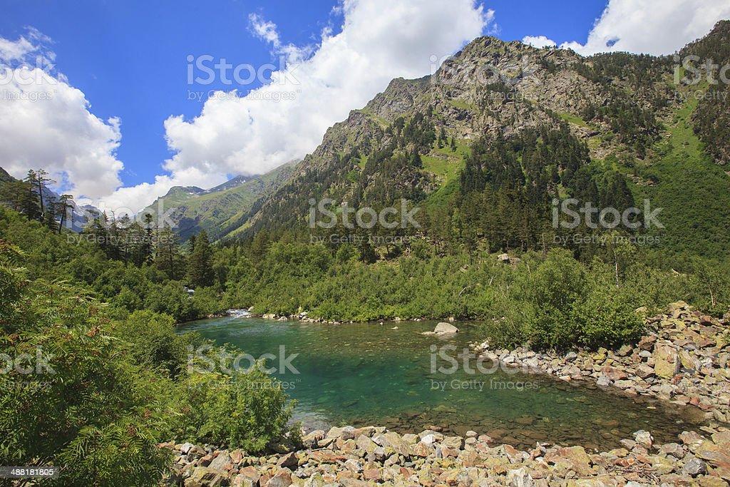 Small mountain lake in beautiful mountains royalty-free stock photo