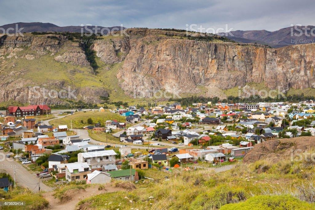 Small mountain village El Chalten in Santa Cruz stock photo