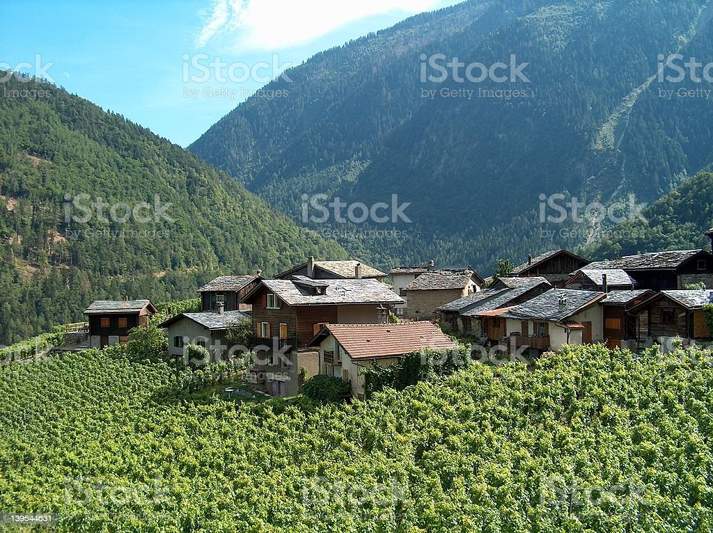 Small mountain village with slate roofs. stock photo