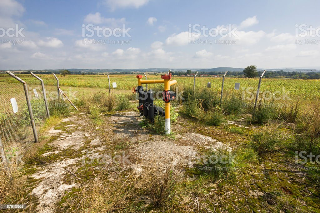 Small natural gas substation in the field stock photo