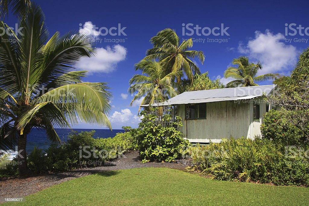 Small ocean front home on Maui Hawaii stock photo