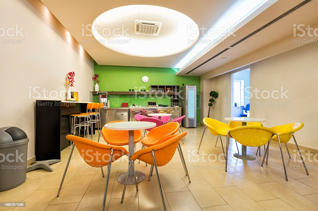Small office canteen interior stock photo