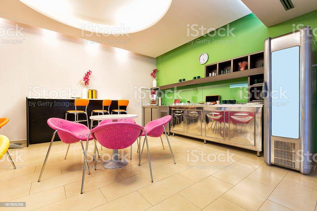 Small office canteen interior stock photo