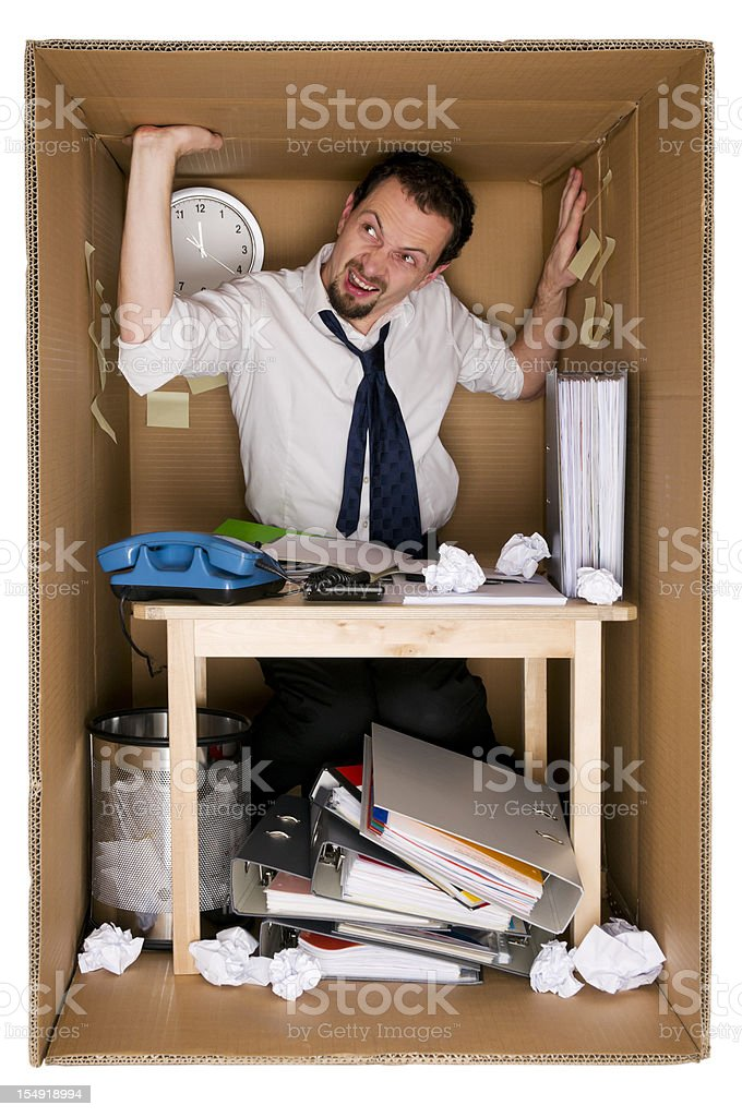 small office in a cardboard box stock photo