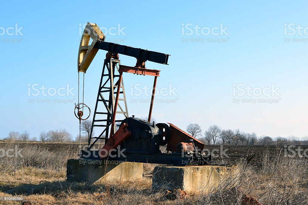 Small Oil Pump in the fields near Sabla, Bulgaria stock photo