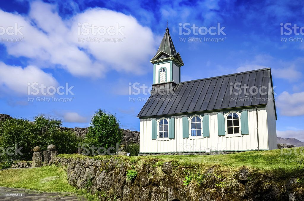 Small old church Pingvallkirkja in Thingvellir, Iceland stock photo