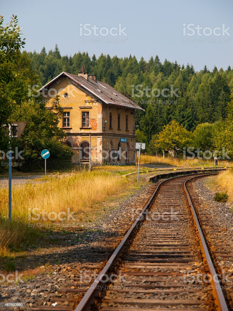 Small old railway station in rural area stock photo