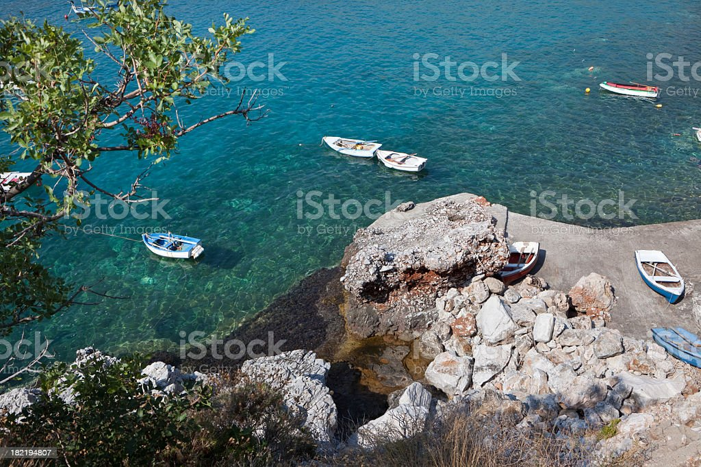 Small old rowing boats XXXL stock photo