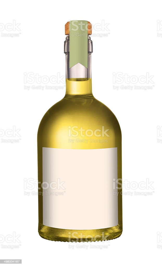 Small olive oil bottle with cork and label mockup isolated on white...