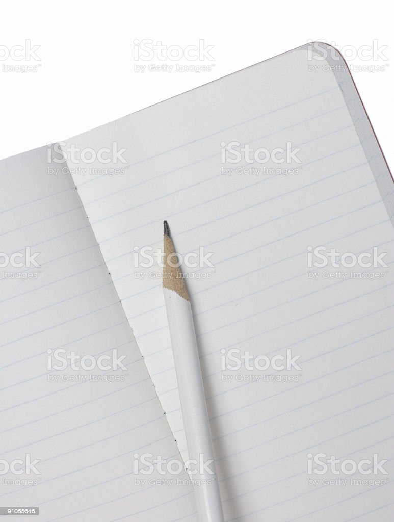 Small Open Notebook and Pencil Isolated with Clipping Path royalty-free stock photo