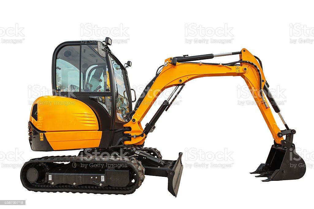 Small or mini excavator isolated with clipping path stock photo