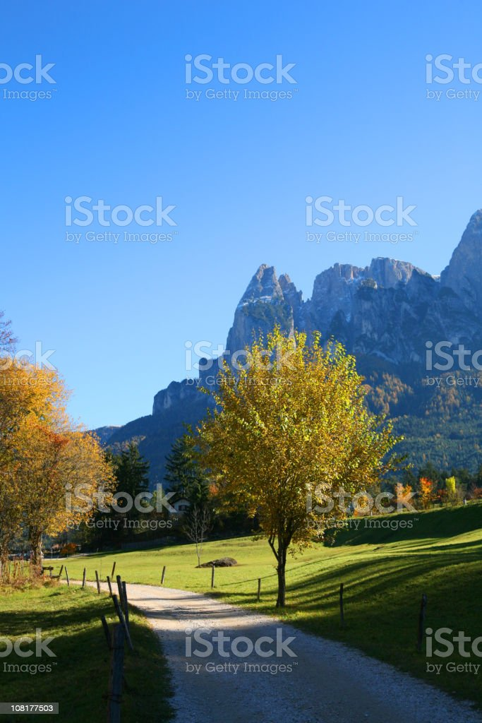 Small Pathway in the Dolomites during Autumn royalty-free stock photo