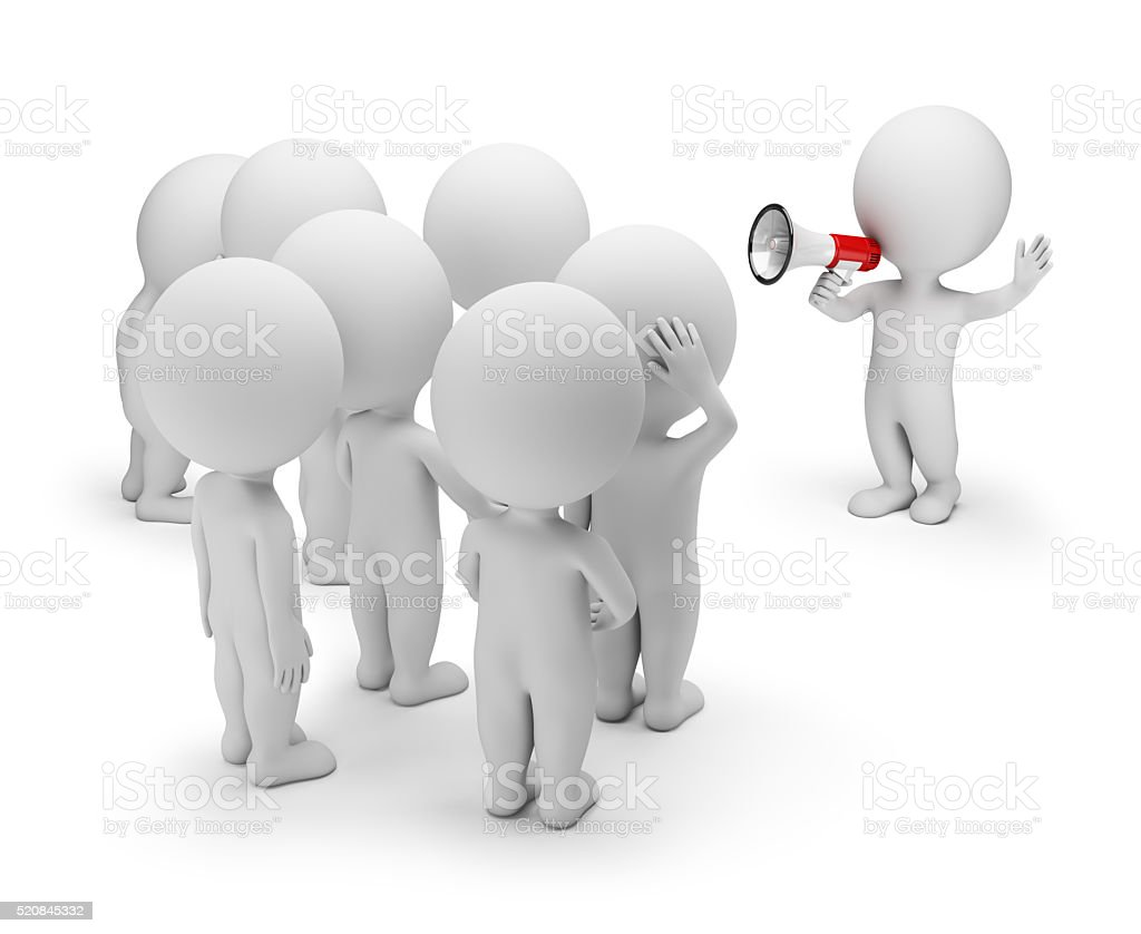 3D Small People - Talking with the Crowd stock photo