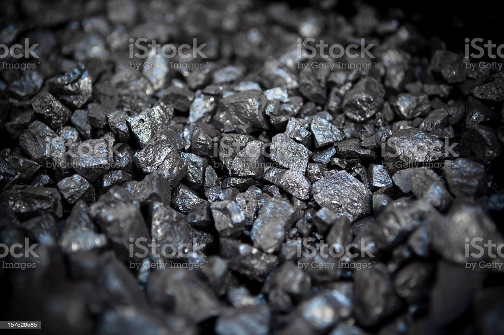 Small pieces of strong metal ore stock photo