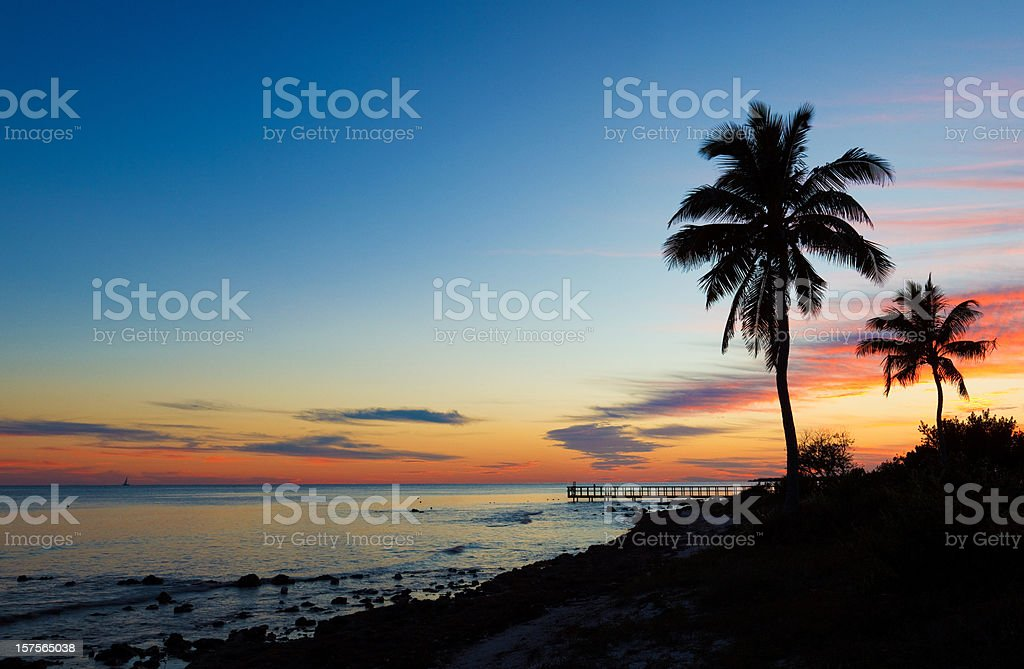 small pier and palm trees silhouettes at sunset stock photo