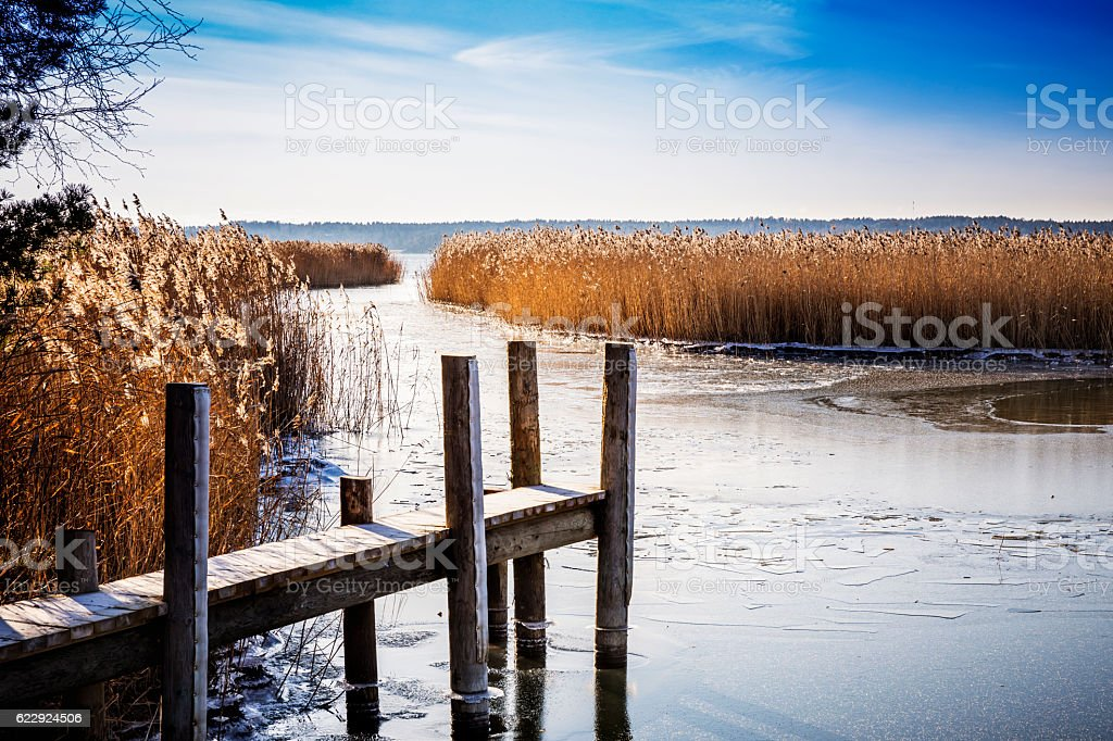 Small Pier by Frozen Sea stock photo