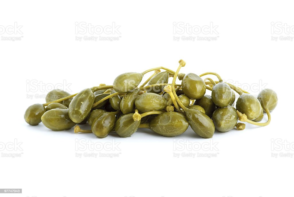 Small pile of marinated capers fruits stock photo