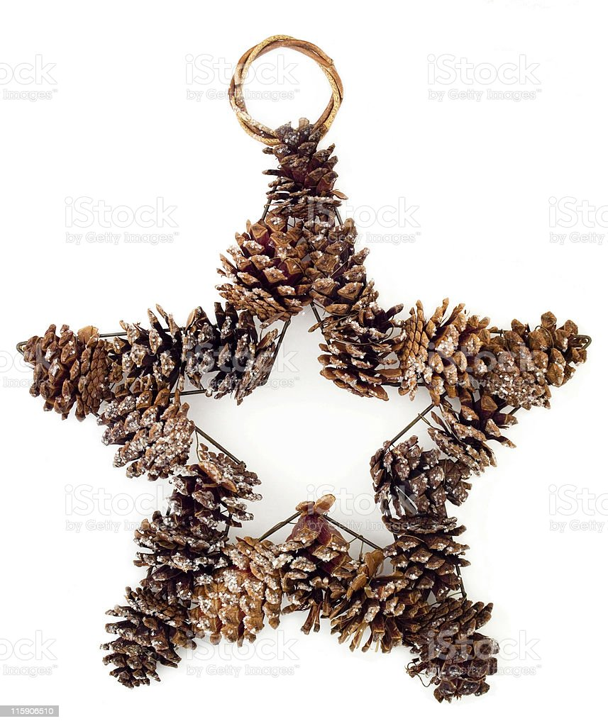 Small pine cone hanging christmas decoration royalty-free stock photo