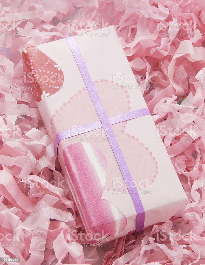 Small pink gift box royalty-free stock photo
