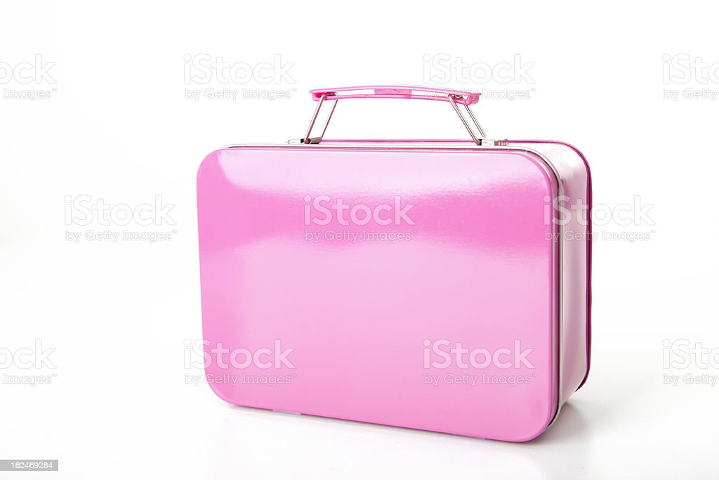 Small pink suitcase for young girl (XXL) stock photo