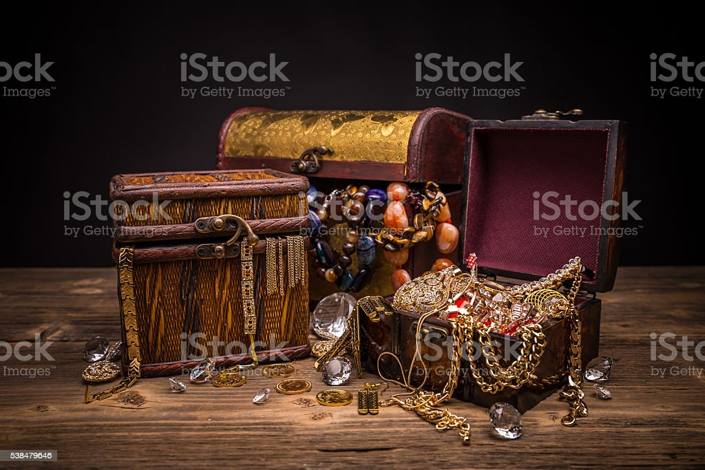 Small pirate treasure chest stock photo
