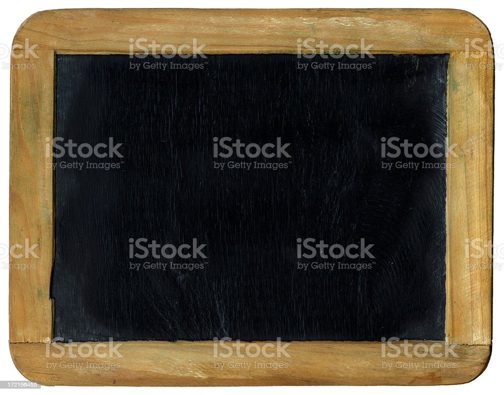 Small plain black chalkboard with wooden border royalty-free stock photo