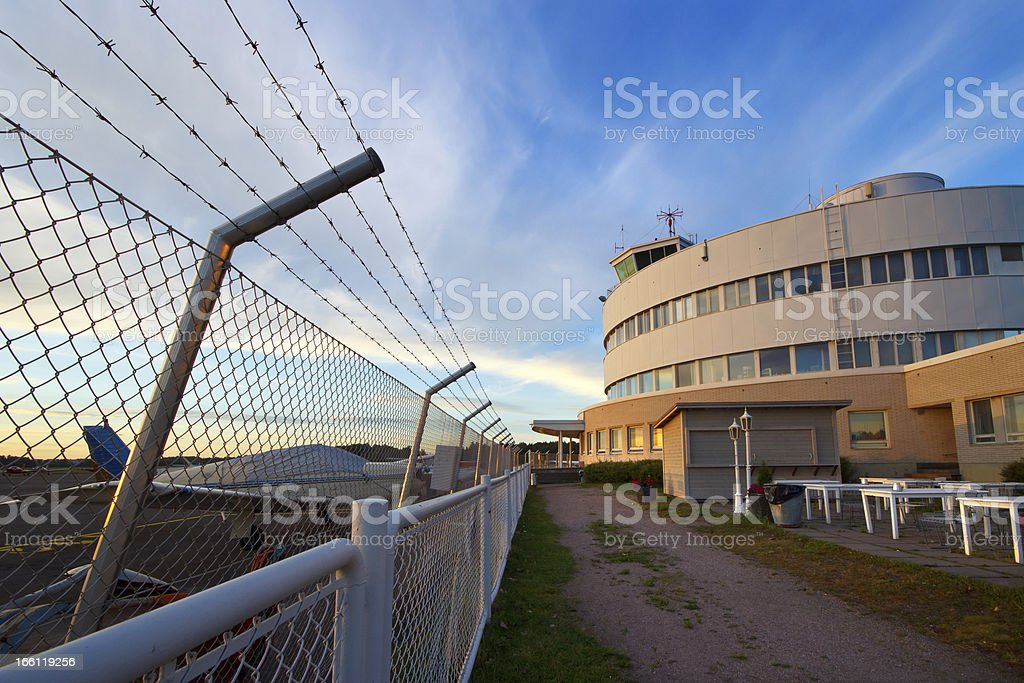 Small plane airport in evening royalty-free stock photo