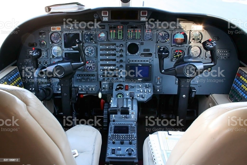 Small Plane Cockpit stock photo