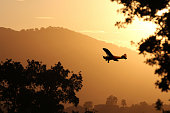 Small plane flying at sunset.