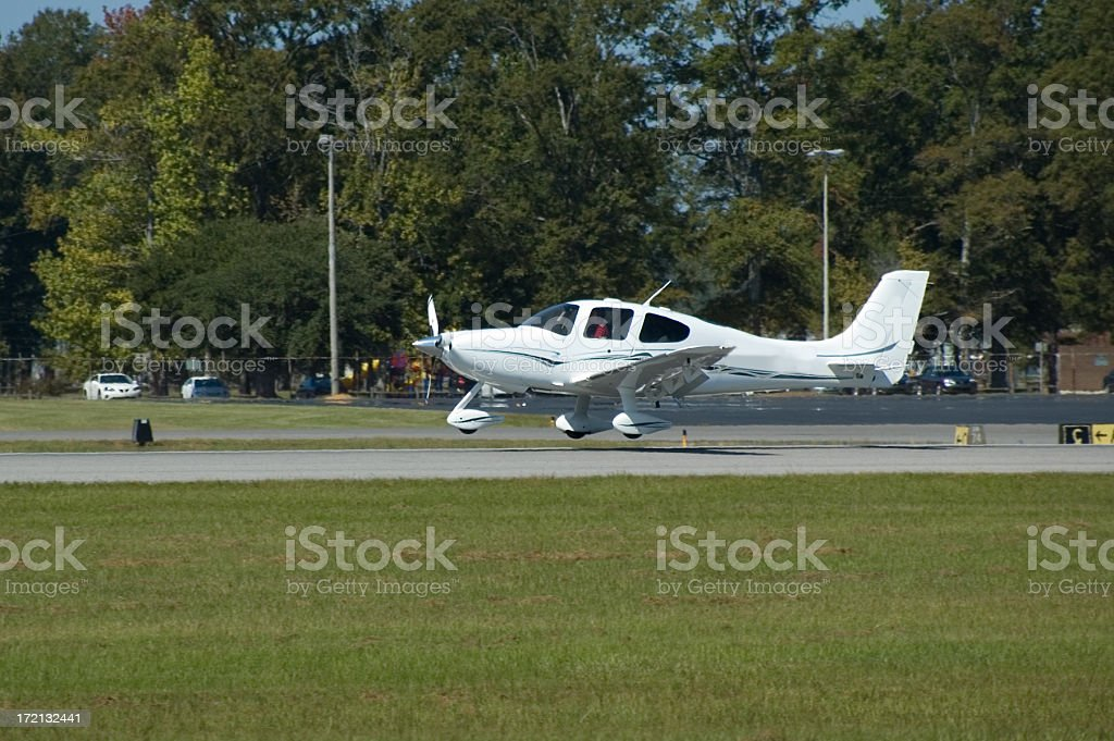 Small Plane Landing stock photo
