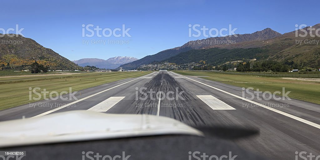 Small plane landing royalty-free stock photo