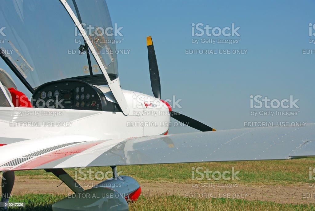 Small plane on airfield, Iasi, Romania stock photo