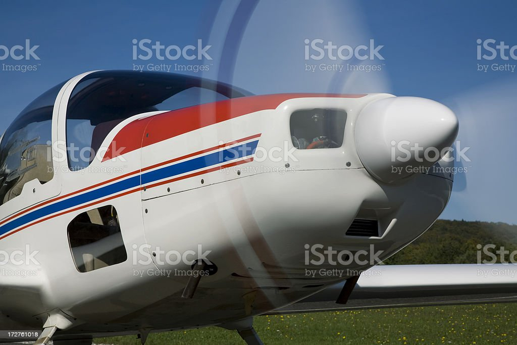 Small Plane Ready for Take-Off stock photo