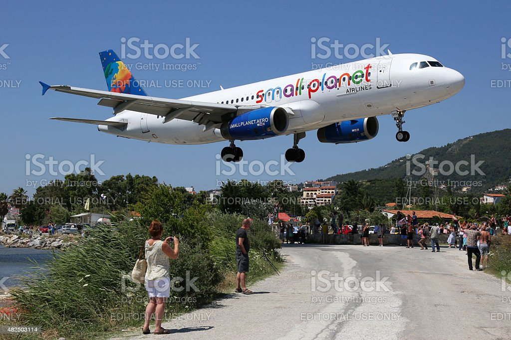 Small Planet Airlines Airbus A320 airplane Skiathos airport stock photo