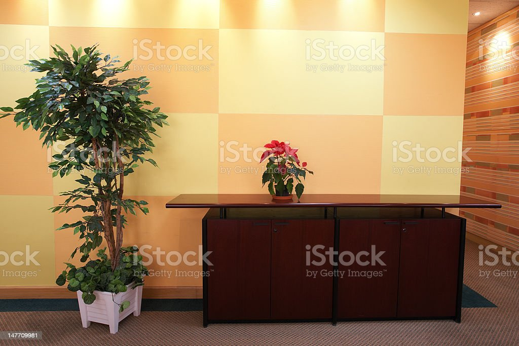 Small plant in office lobby stock photo