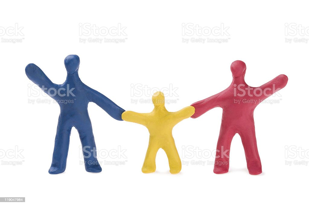Small plasticine people - the family royalty-free stock photo
