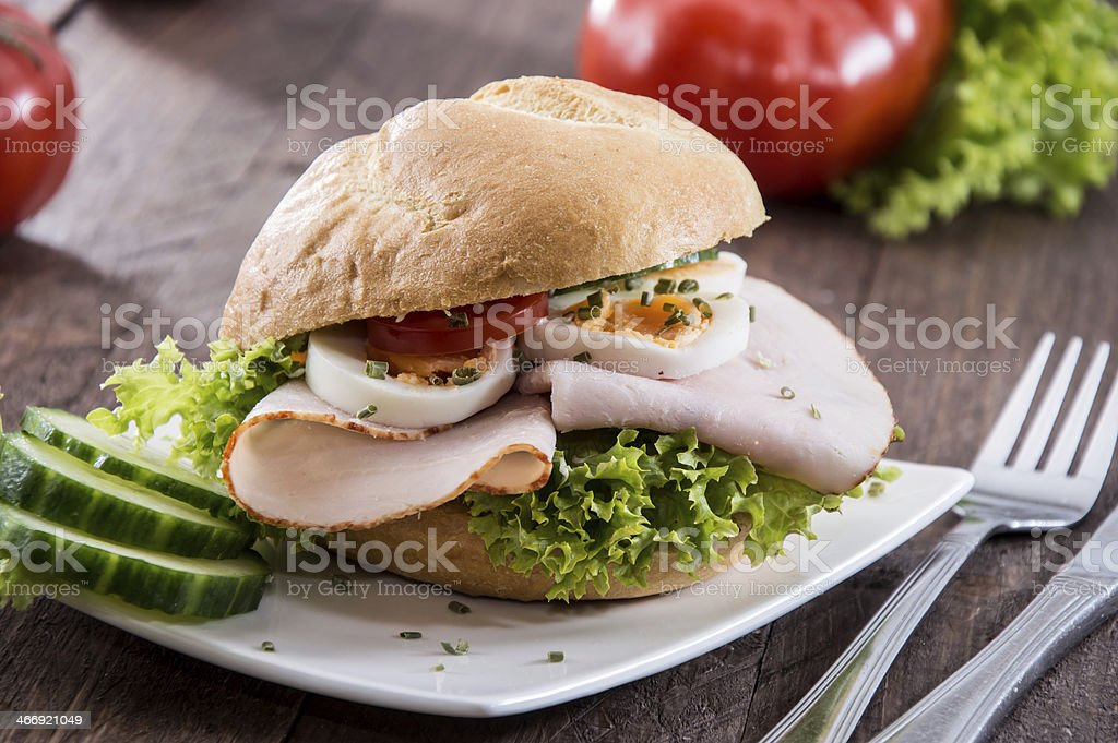 Small plate with Chicken Sandwich royalty-free stock photo