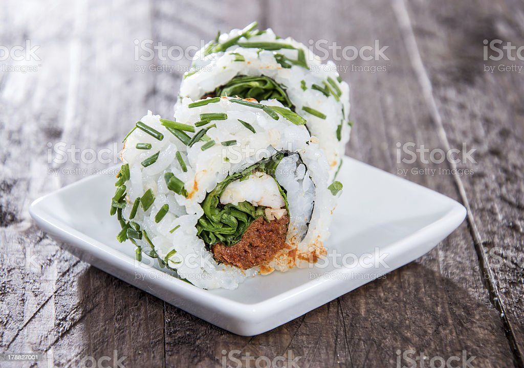 Small plate with Sushi Rolls royalty-free stock photo
