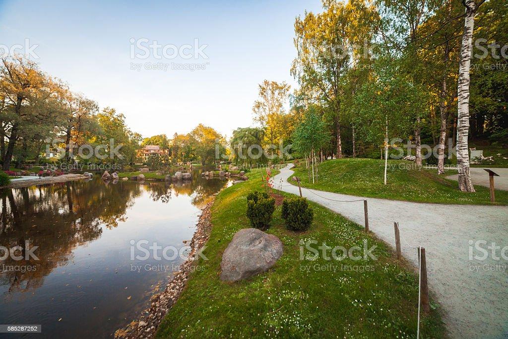 small pond at Japanese garden in Tallinn stock photo