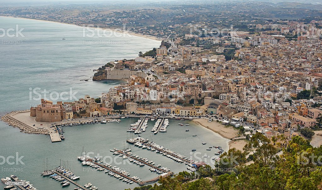 Small port in Castellammare del Golfo, Sicily, Italy stock photo